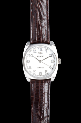 ZENNOR - Brushed steel face, Stainless steel body, Brown leather strap