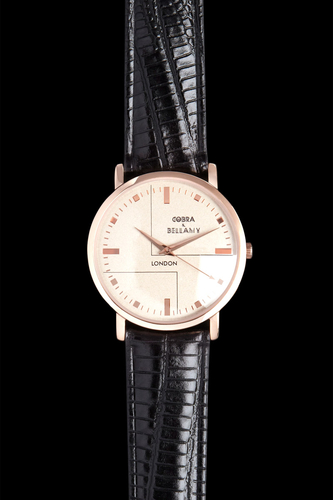 SENNEN - Antique face, Rose gold plated body, Black leather strap