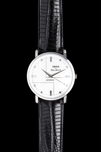 SENNEN - Brushed steel face, Stainless steel body, Black leather strap