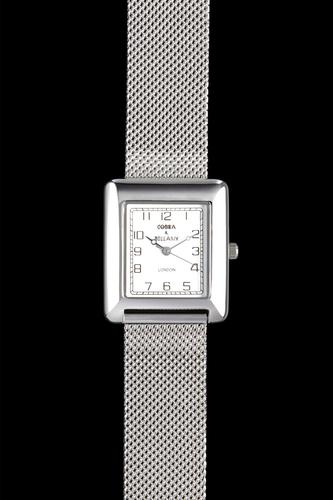 HUNTER - White face, Stainless steel mesh strap