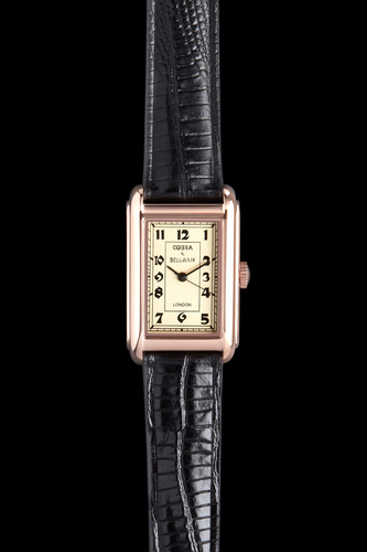 COBRA - Antique face, Rose gold plated body, Black leather strap