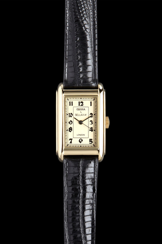 COBRA - Antique face, 21ct gold plated body, Black leather strap
