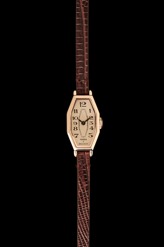 LAMORNA - Rose Gold Plated, Brown leather strap