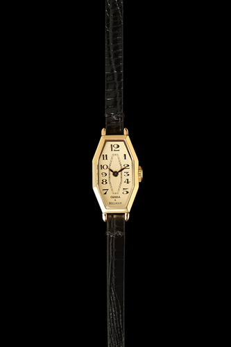 LAMORNA - 21 Carat Gold Plated, Black leather strap